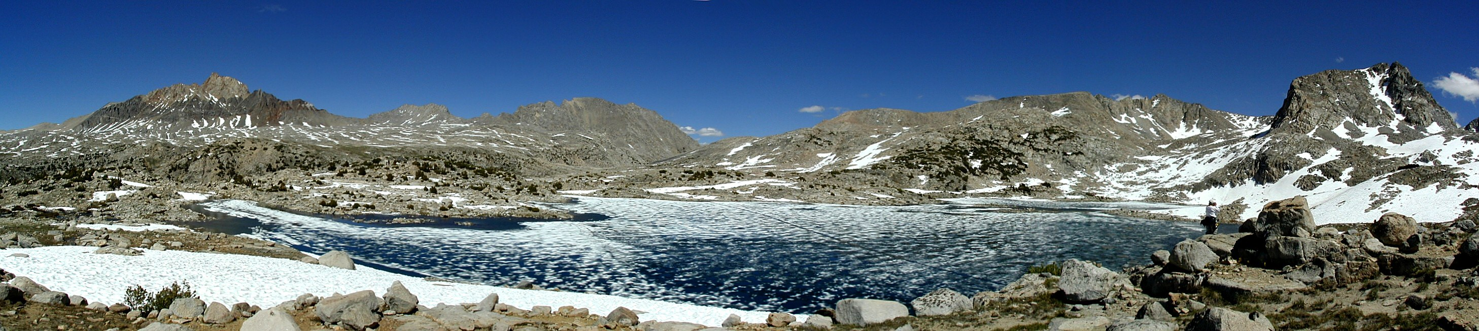 Over Piute Pass, eastern Sierras --- Mt. Humphreys and Muriel Lake in Humphreys Basin --- 6-pic pano
