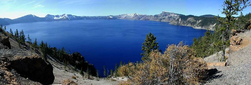 Crater Lake, Oregon<br /> 5 photos stitched with Panorama Factory software