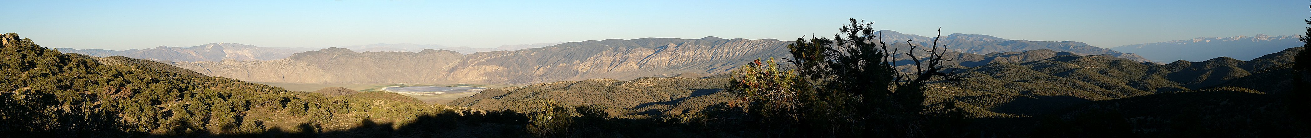 The eastern edge of the Great Basin --- from right to left,  the Sierra, Inyo, and White mountain ranges