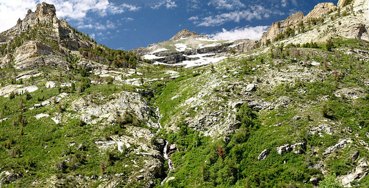 3-pic panorama of hanging valley and cascade, along Lamoille Canyon, Ruby Mountains, northern Nevada