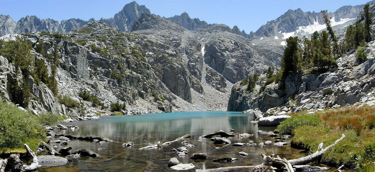 Glacially-fed Finger Lake at the base of the Palisades, eastern Sierra Nevada, California