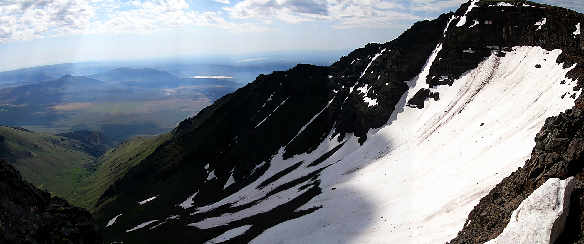 Panorama of the  steep eastern face of Steens Mountain.