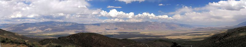 The White and Inyo mountain ranges from the Sierra foothills above the town of Independence, Owens Valley, eastern California --- 6-pic panorama