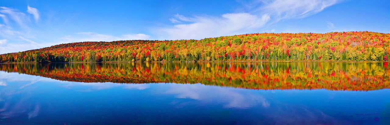 Panaroma (Size 11061x3538, merged X5), Canada, Quebec, La Mauricie National Park, Lac Bouchard, Fall Colors, Reflection, Landscape, 全景摄影, 加拿大 风景, 魁北克, 摩里斯国家公园, 秋色, 倒影