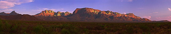 Panorama (26049 x 5292, merged x 9), Texas, Big Bend National Park, Texas, Chisos Mountains, Sunset, Landscape, 德克萨斯, 大弯曲国家公园,风景,  全景摄影