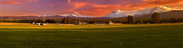 Panorama (Size 21270 x 5590,merged x7) Oregon, Three Sisters, Sunset, Landscape, 俄勒冈, 三姐妹山, 夕阳,全景摄影