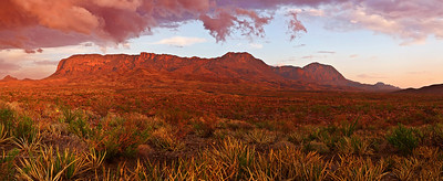 Panorama (16410 x 5170, merged x 5), Texas, Big Bend National Park, Texas, Chisos Mountains, Sunset, Landscape, 德克萨斯, 大弯曲国家公园,风景,  全景摄影