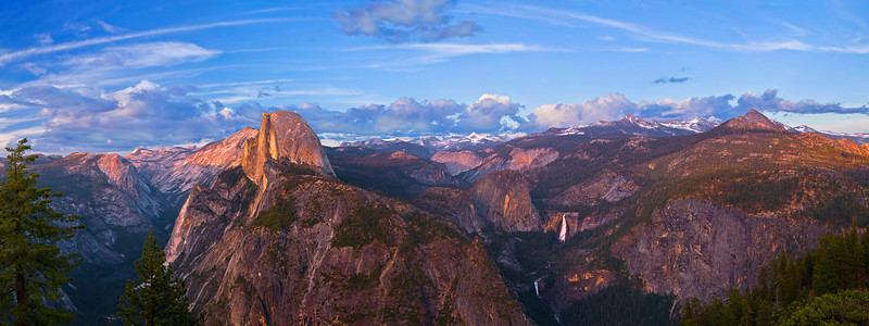 Panorama (13655x5100, marged x5) California, Yosemite National Park, Glacier Point View, Sunset,  加利福尼亚; 优胜美地国家公园, 日落