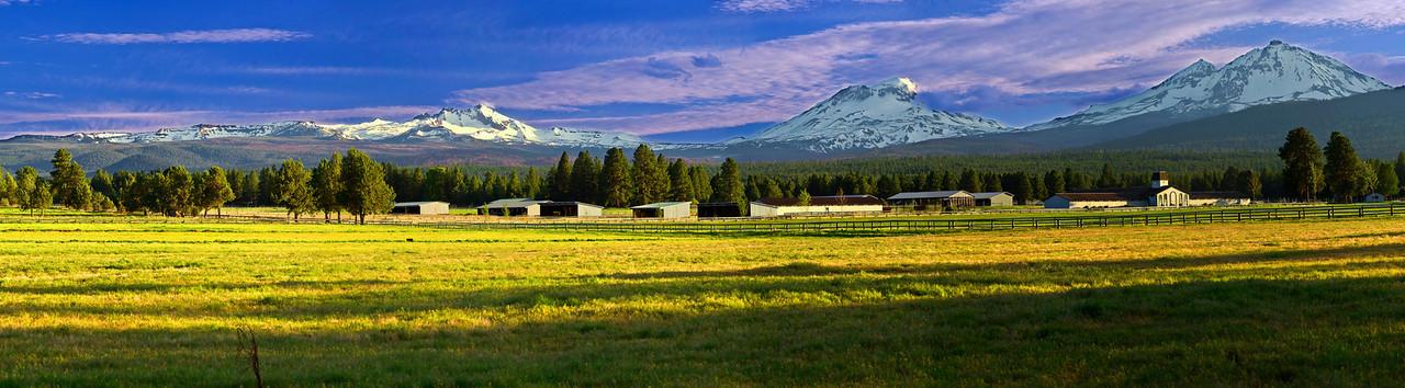 Panorama (Size 19960 x 5516,merged x8) Oregon, Three Sisters, Sunset, Landscape, 俄勒冈, 三姐妹山, 夕阳,全景摄影