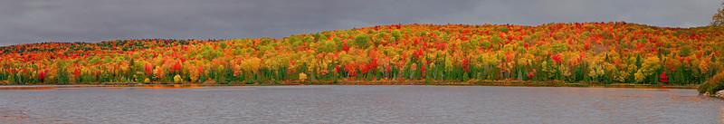 Panaroma (Size 34069x5580, merged X11), Canada, Quebec, La Mauricie National Park, Lac Bouchard, Fall Colors, 全景摄影, 加拿大 风景, 魁北克, 摩里斯国家公园, 秋色