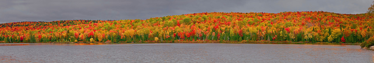 Panaroma (Size 34069x5580, merged X11), Canada, Quebec, La Mauricie National Park, Lac Bouchard, Fall Colors, 全景摄影, 加拿大 风景, 魁北克, 摩里斯国家公园, 秋色