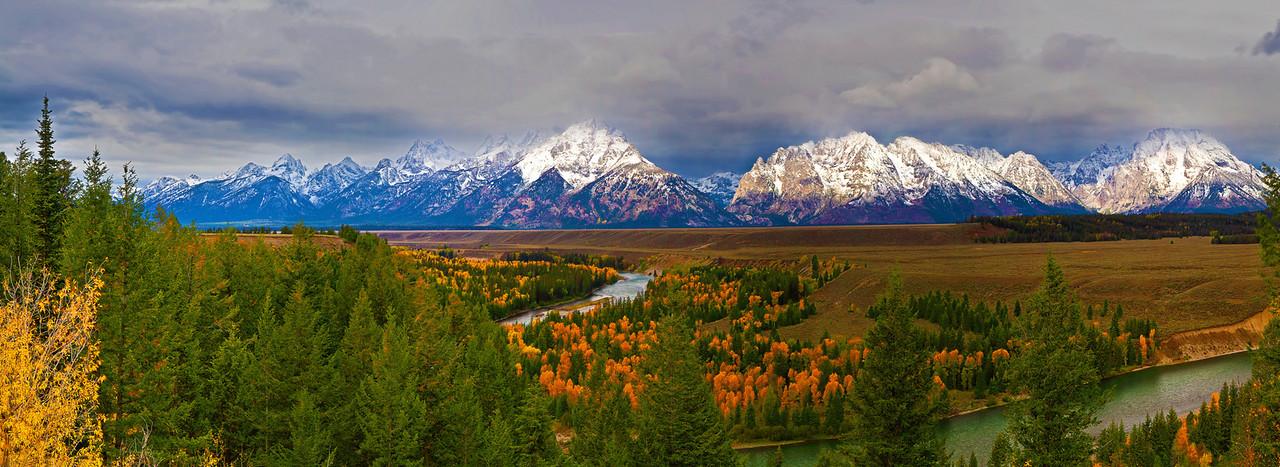 Panorama (Size 19196 x 5544,merged x5), Wyoming, Grand Teton National Park, Snake River, Fall Colors, 怀俄明, 大提顿国家公园, 秋色,  全景摄影