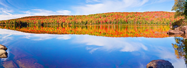 Panaroma (Size 15437 x 5672, merged X5), Canada, Quebec, La Mauricie National Park, Lac Bouchard, Fall Colors, Reflection, Landscape, 全景摄影, 加拿大 风景, 魁北克, 摩里斯国家公园, 秋色, 倒影
