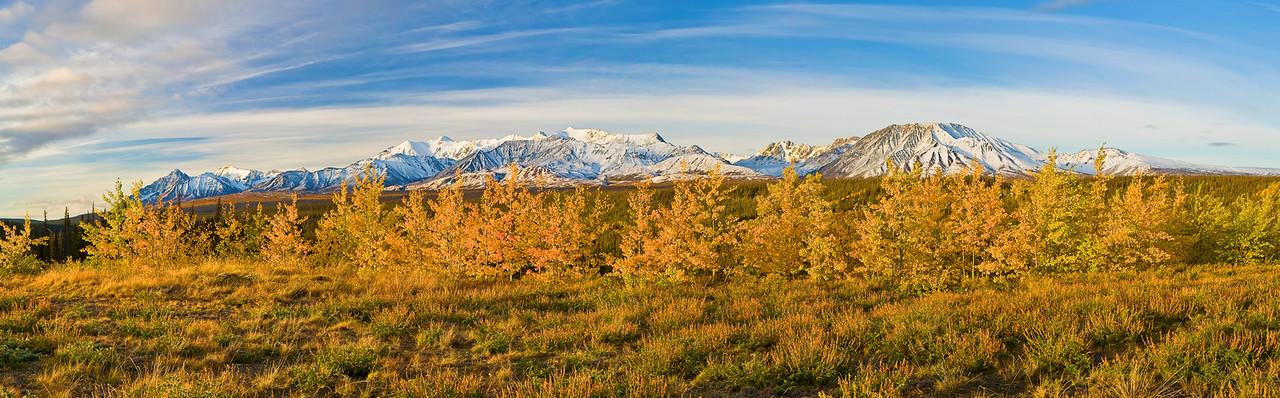Panorama (9731x3023, merged x4 ),  Canada; Yukon; Alaska Highway; Mount Cairnes; Fall Colors; 加拿大; 育空; 阿拉斯加高速公路; 秋色,  全景摄影