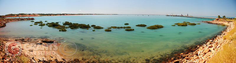Roebuck Bay and Broome Jetty at high tide.