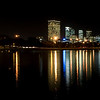 The ever changing colours of the city of Perth in Western Australia during a calm winters night.