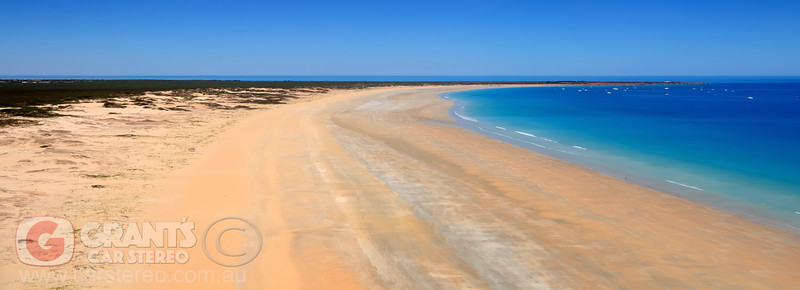 The view of Cable Beach from the air on our final approach to Broome airport.
