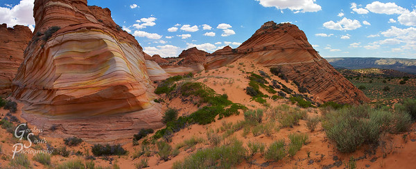 Paw Hole Panorama  This is a massive panorama of Paw Hole, a stitch of several photographs put together in Photoshop.  I tried to capture how beautiful and long these sandstone striations are.