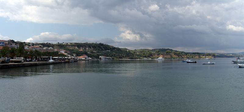 Koroni harbor, Poloponnese, Greece<br /> Casio Exilim Z-120 (two image photomerge)