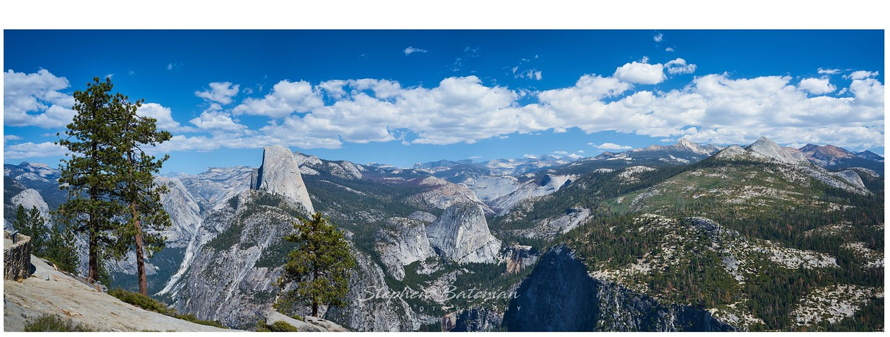 Panoramic View of half Dome and the sierras from Glacier Point