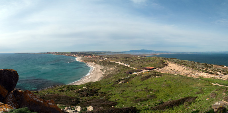 Capo San Marco, Sini Peninsula, southernmost tip near Tharros, western Sardinia, looking North<br /> 3 image stitch, Olympus E-420 & Zuiko 12-60mm/2.8-4.0