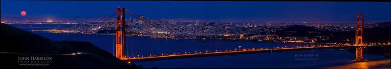 """Full Moon over the Golden Gate Bridge in the Marin Headlands"""