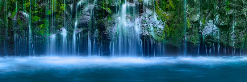 """""""Serenity""""  Waterfall Panorama with Blue water and green moss"""