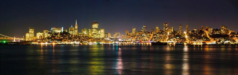 San Francisco Full Night Skyline Panorama including Transamerica Pyramid.  Shot from Alcatraz.  #1544