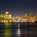 San Francisco Full Night Skyline Panorama including Transamerica Pyramid.  Shot from Alcatraz.  #1544