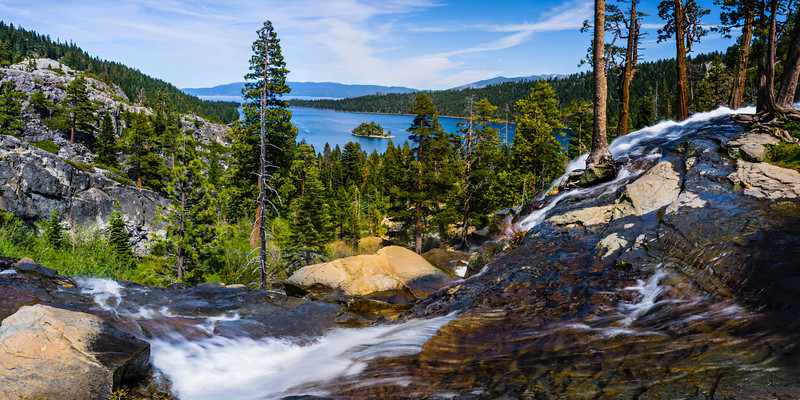 """""""Emerald Bay State Park"""" One of the many awesome places in Lake Tahoe. Eagle Falls and Emerald Bay State Park with the Vikingsholm and Fannette Island. The hiking around there is fantastic with the Desolation Wilderness trails. Add this to your places to go while in Lake Tahoe!"""