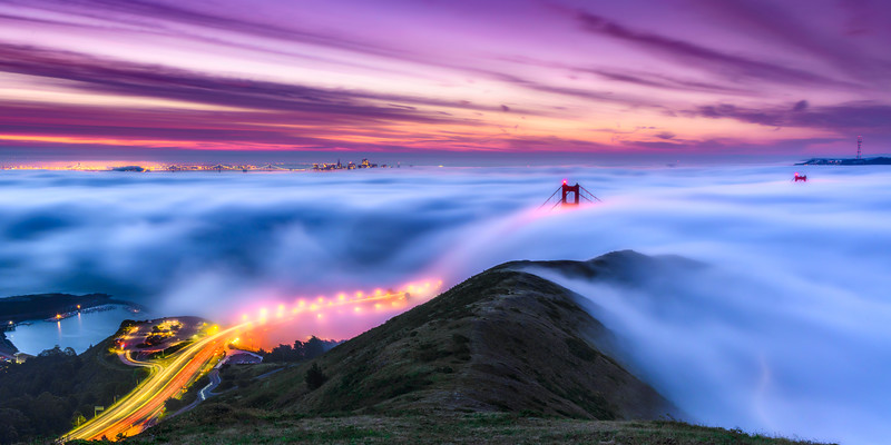 """""""Above the Fog""""  San Francisco Bay Area and Golden Gate Bridge at Sunrise from the Marin Headlands."""