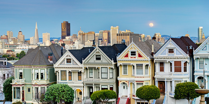 7 Painted Ladies in San Francisco at Sunset with Full Moon