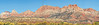 Panorama - Peaks in Zion National Park,<br /> from Smithsonian Butte Scenic Backway,<br /> near Rockville, Utah