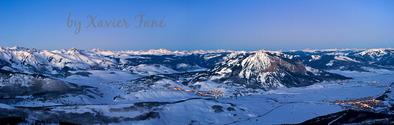 Winter bird's eye view of Crested Butte, Mt. Crested Butte and the surrounding Elk Range.
