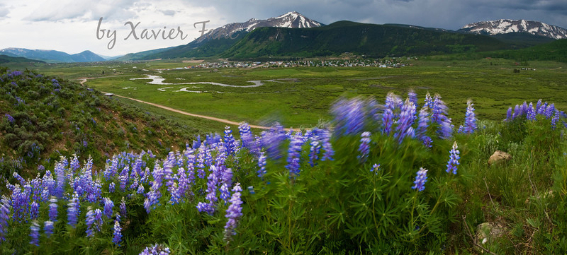 A spring view of Crested Butte and surrounding open spaces