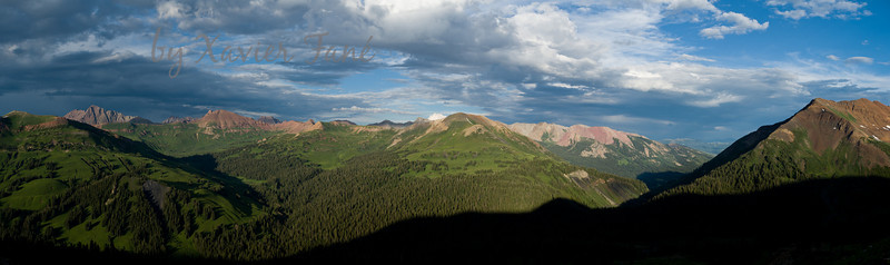 Maroon Bells (left) and the Elk Mountain Range seen from the top of Galena Mtn.