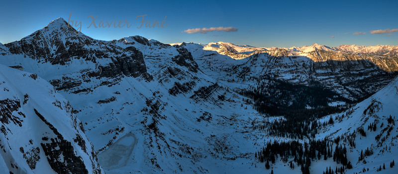 Looking at Blue Lake (bottom left) and the Oh-Be-Joyful Valley from Scarps Ridge.