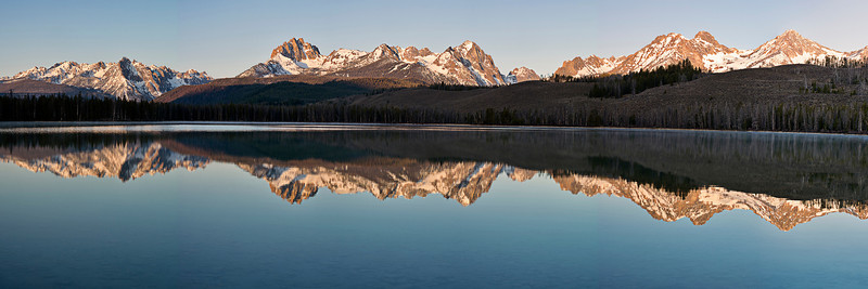 Phyllis's panorama of early morning reflections at Little Redfish Lake
