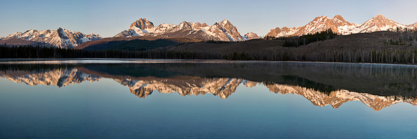 pan48: Phyllis's panorama of early morning reflections at Little Redfish Lake