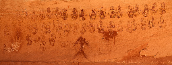 Many Hands pictograph panel in an alcove in the Needles District of Canyonlands National Park.