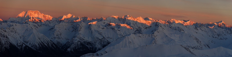 The Main Divide between Mt Cook and Elie De Beaumont from Beuzenberg Peak, Two Thumb Range