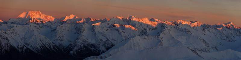 The Main Divide between Mt Cook and Elie De Beaumont from Beuzenberg Peak, Two Thumb Range