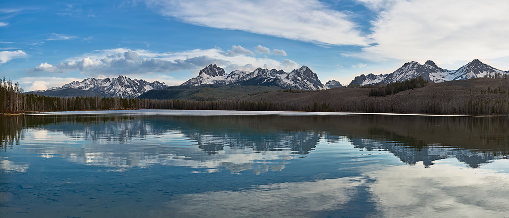 pan49: Phyllis's panorama of late evening reflections in Little Redfish Lake
