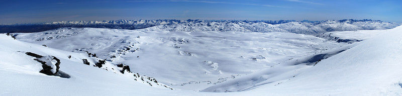 Looking down into Roaring Lion Creek. The Eyre Mountains to the left, Hector Mountains to the right, Mt Earnslaw in the far back