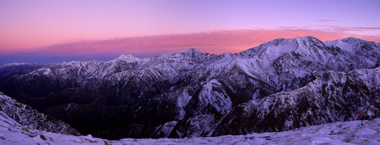 Panorama from Gables End, Seaward Kaikoura Range: Snowflake, Shattered Peak and Mt Saunders