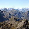 View from the top of the Disappearing Peaks, Fiordland, stretching from Flat Top Peak (far left) to Lake Gunn