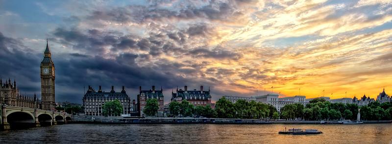River Thames Big Ben Pano Sunset