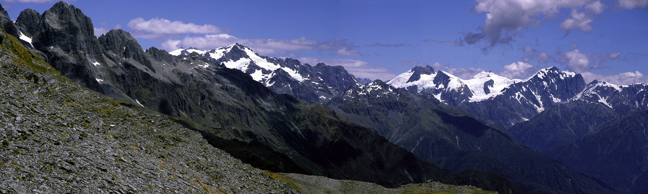 Panorama from the upper Smyth: Lord Range, Mt Lambert and Mts Farrar, Hulka and Kensington