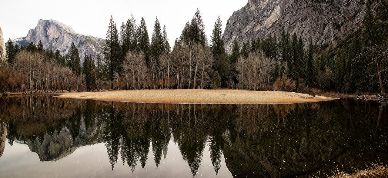 Half Dome river bend reflections