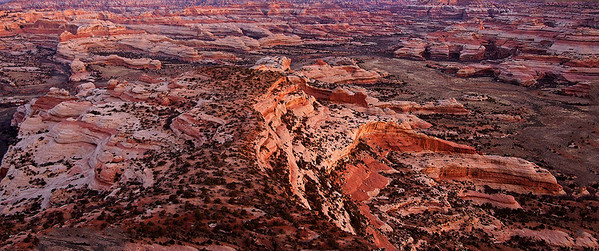 Phyllis's panoramic image of dawn light on the Big Pocket from Cathedral Point Overlook